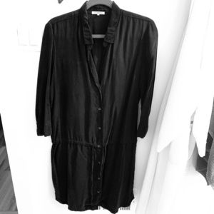 James Perse Blk silk blend drawstring tunic size 3